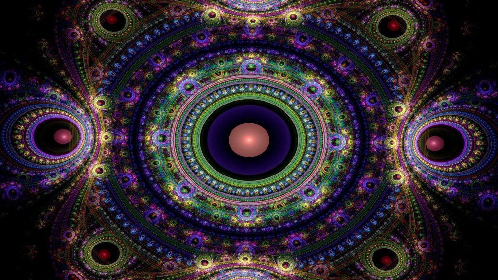 Фиолетовый зеленый персик фрактальные узоры формы абстрактные обои скачать
