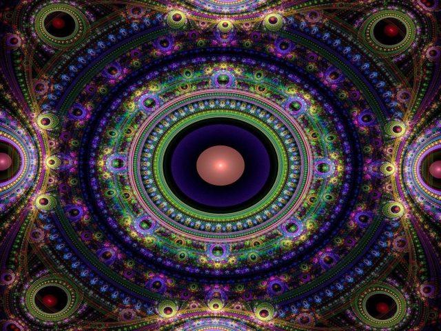 Фиолетовый зеленый персик фрактальные узоры формы абстрактные
