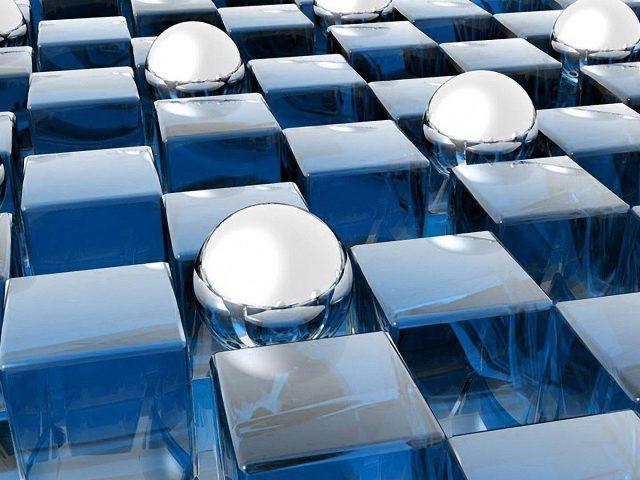 Синие цифровые 3d кубики и шары абстрактные