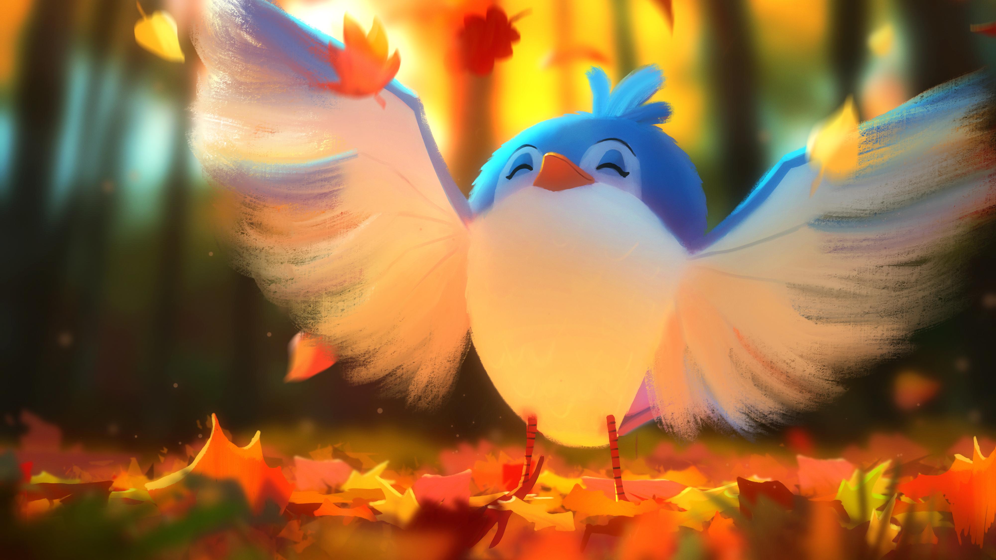 Милые птицы цифровое искусство обои скачать