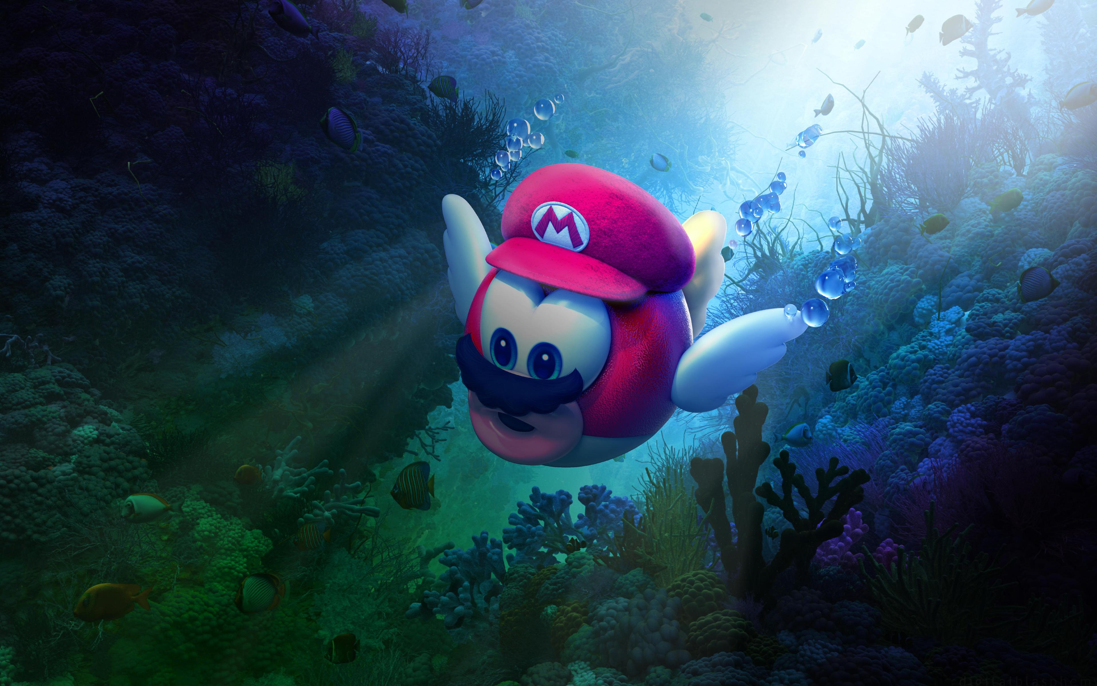 Супер Марио подводная Одиссея обои скачать