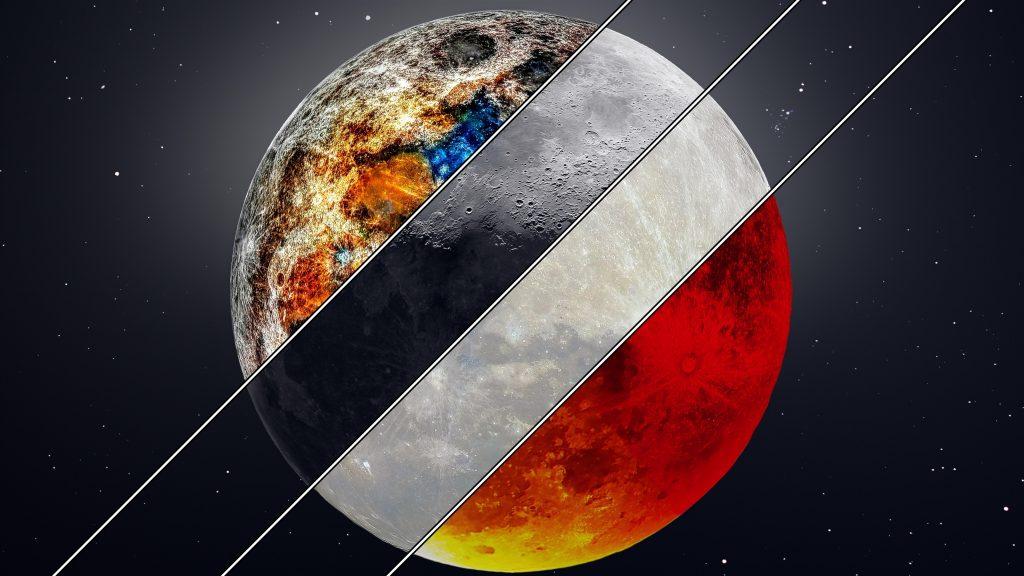 Минеральные супер серповидные Луны крови обои скачать