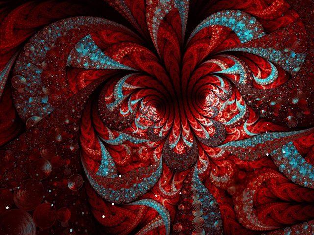 Апофиз красный синий хаотическое цифровое искусство абстракция