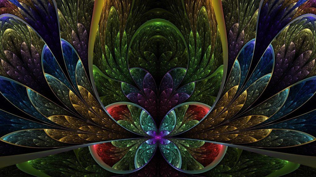 Красочные фрактальный цветок аннотация обои скачать
