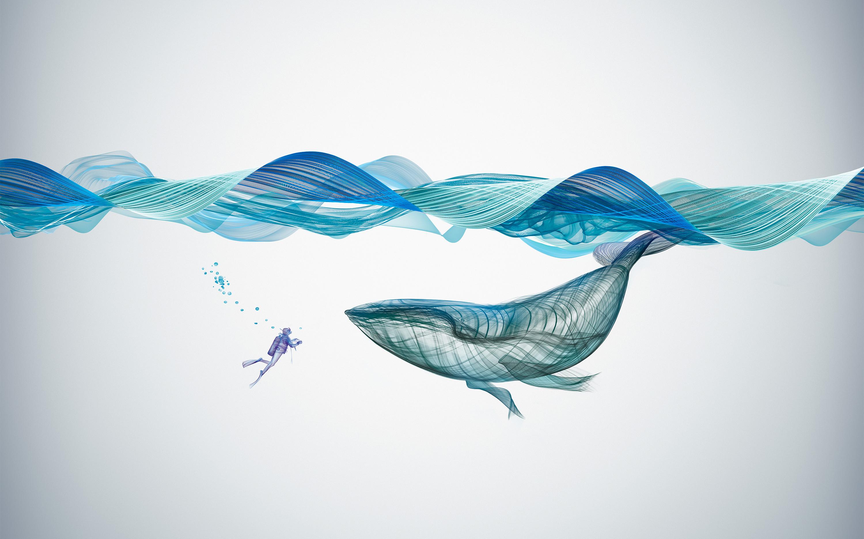 Иллюстрация подводного кита обои скачать