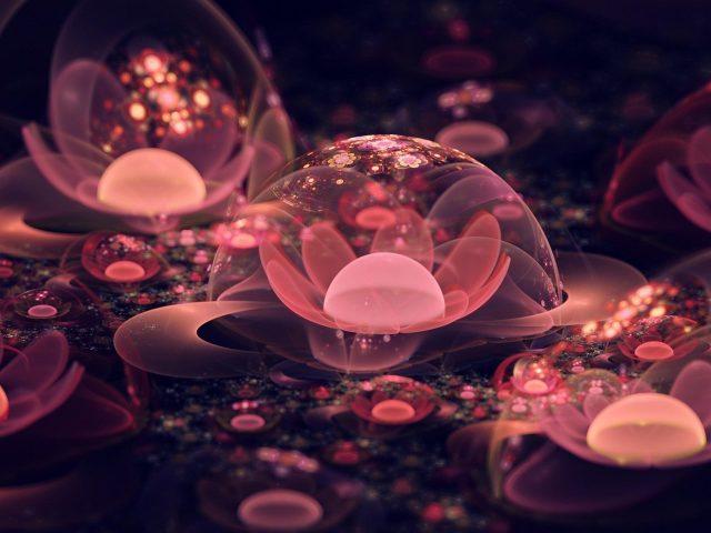 Легкий персиковый цветок фрактальное искусство абстракция