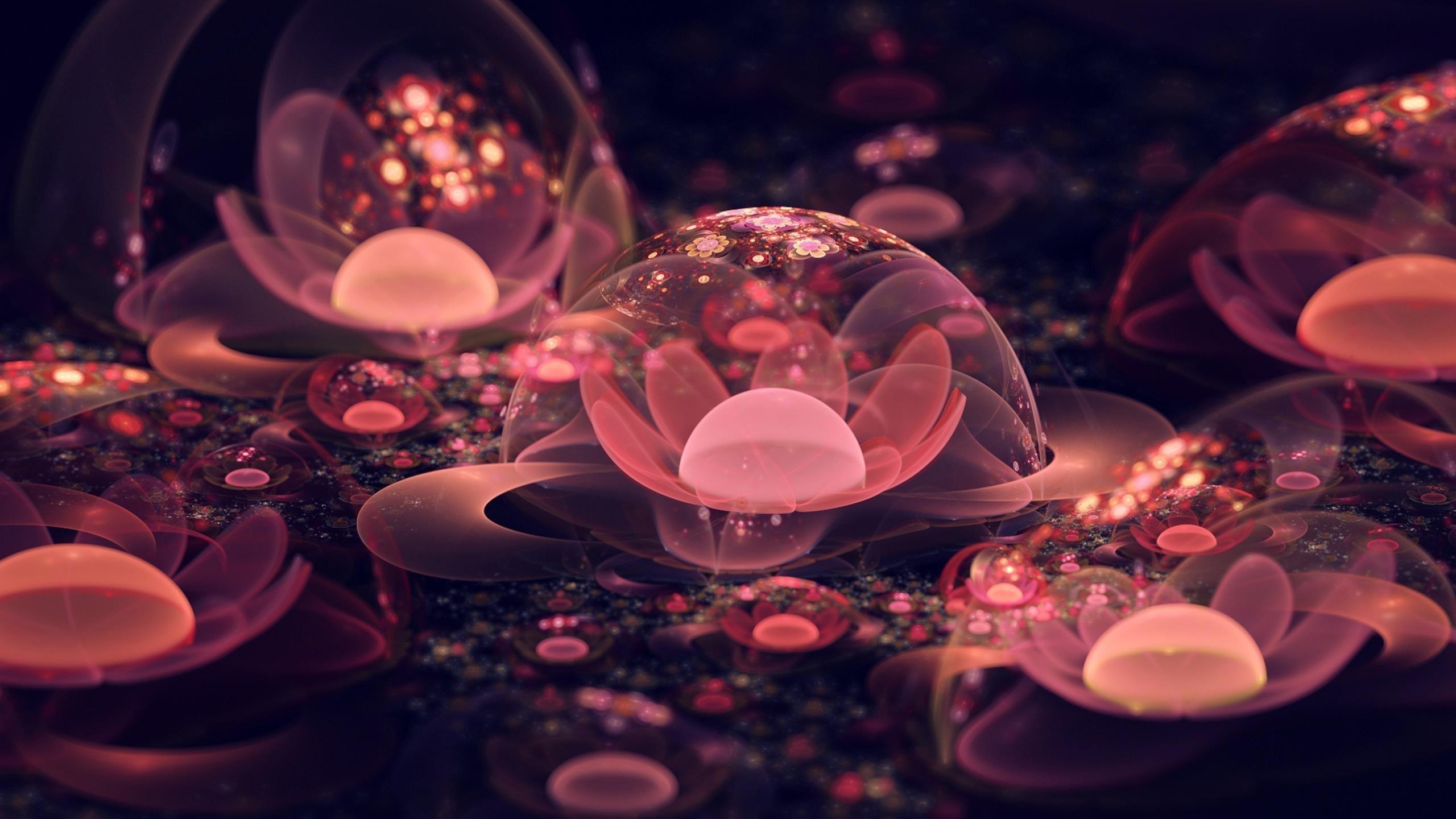 Легкий персиковый цветок фрактальное искусство абстракция обои скачать