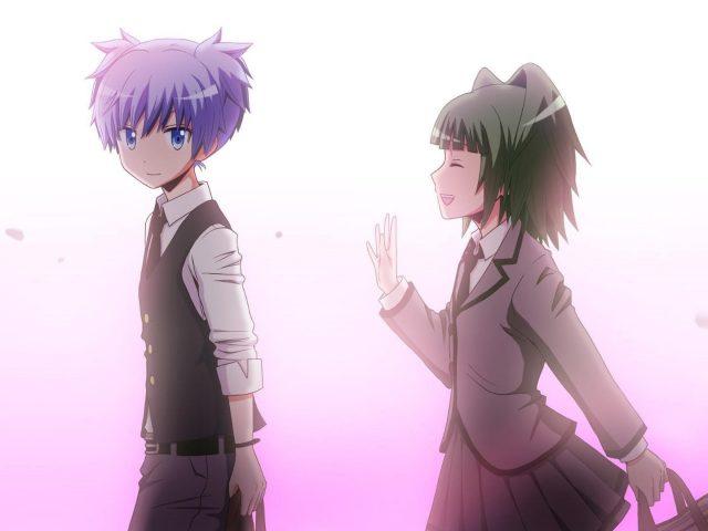 Каэдэ Каяно Нагиса шиота на белом фиолетовом фоне классная комната убийства