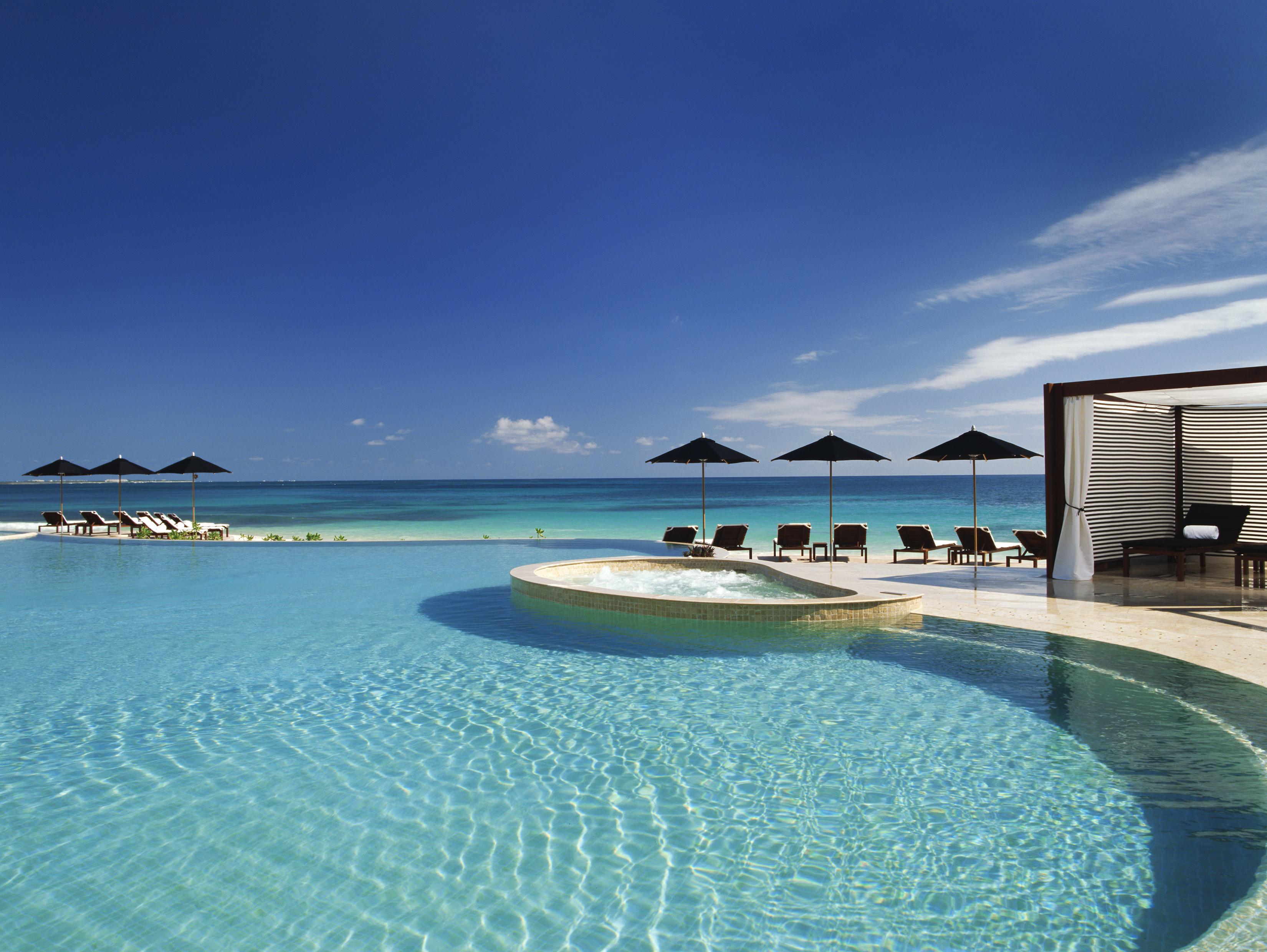 Океан, пляж, бассейн, вид обои скачать