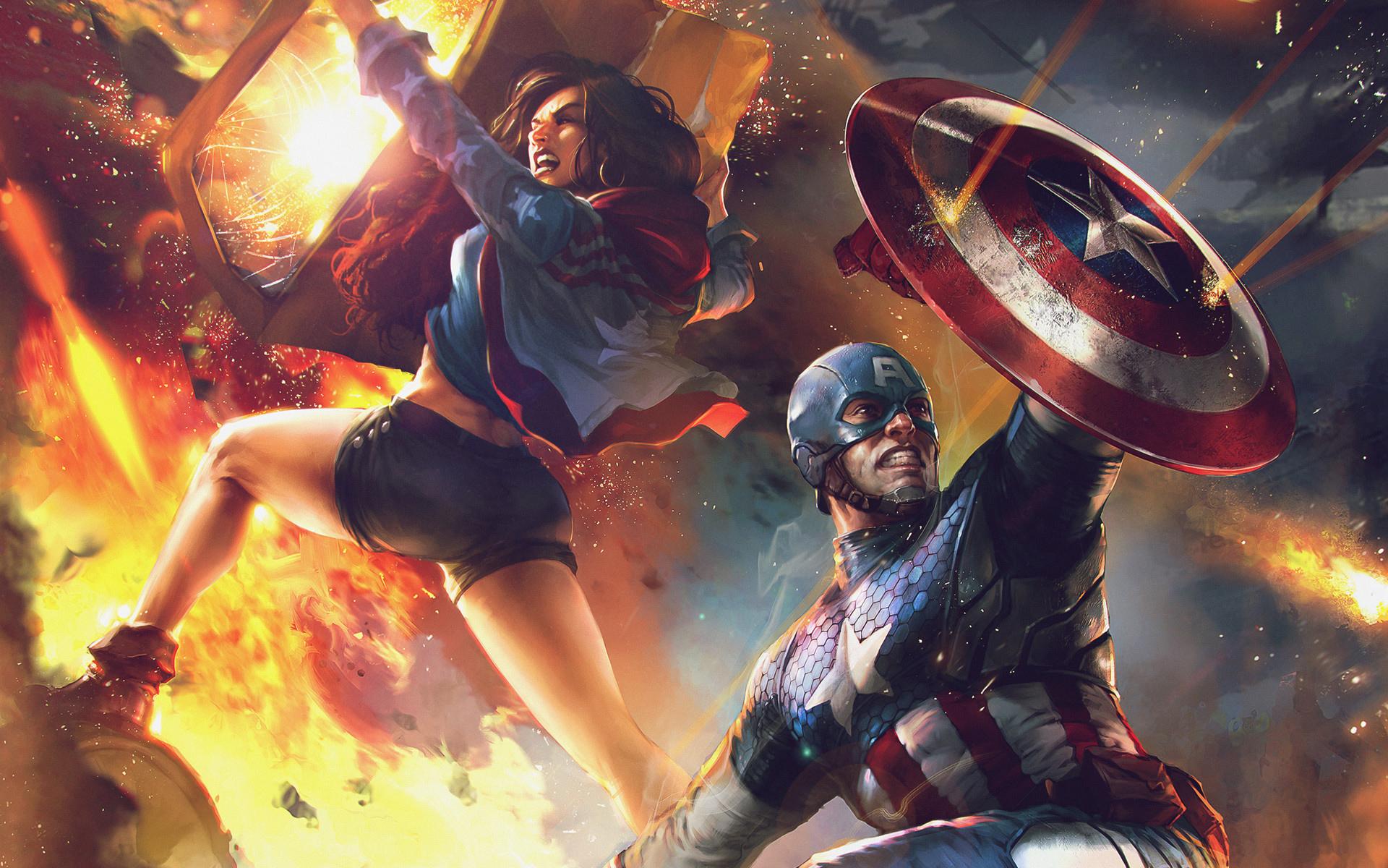 """Обложка """"Америка Чавес"""" и """"Капитан Америка"""" обои скачать"""