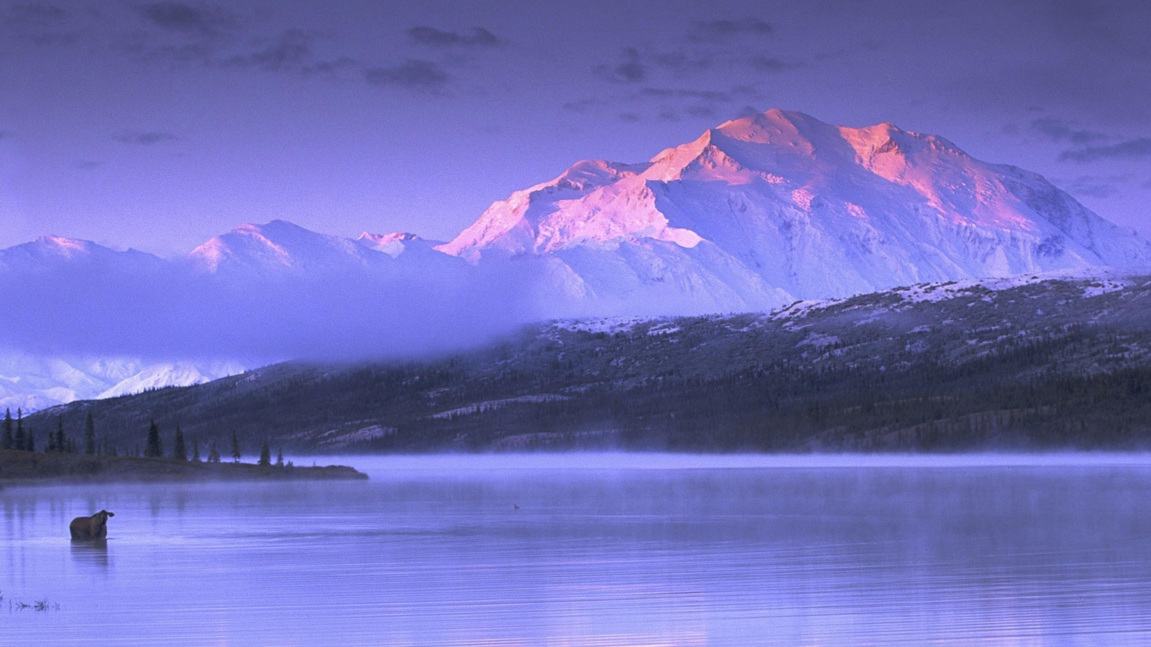 Пейзажный вид Аляски белые покрытые горы под белым небом и спокойный водоем природа обои скачать