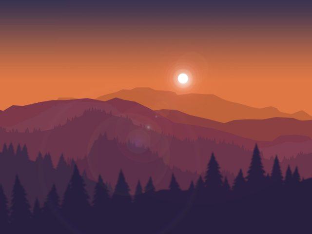 Закат минимальный пейзаж