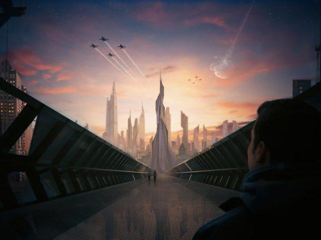 Футуристичный концепт города.