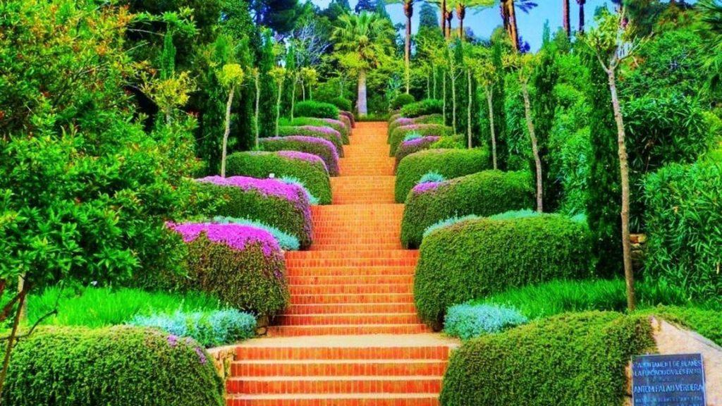 Ступеньки между красочными растениями в саду, окруженном деревьями природы обои скачать