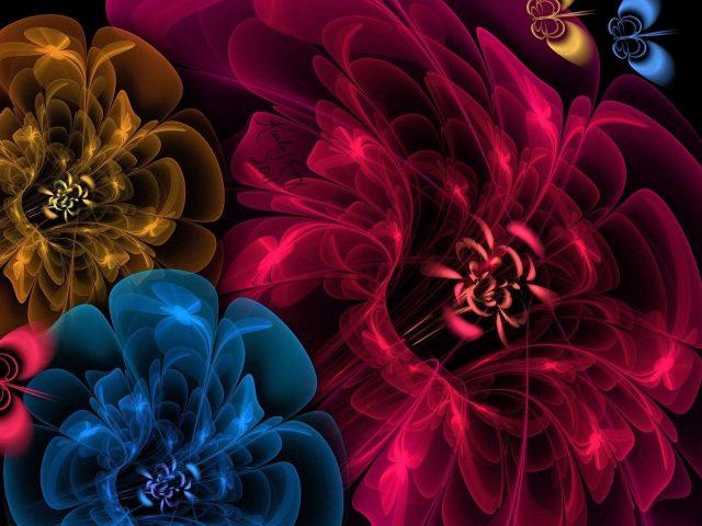 Цветы вуаль темный фон абстракция