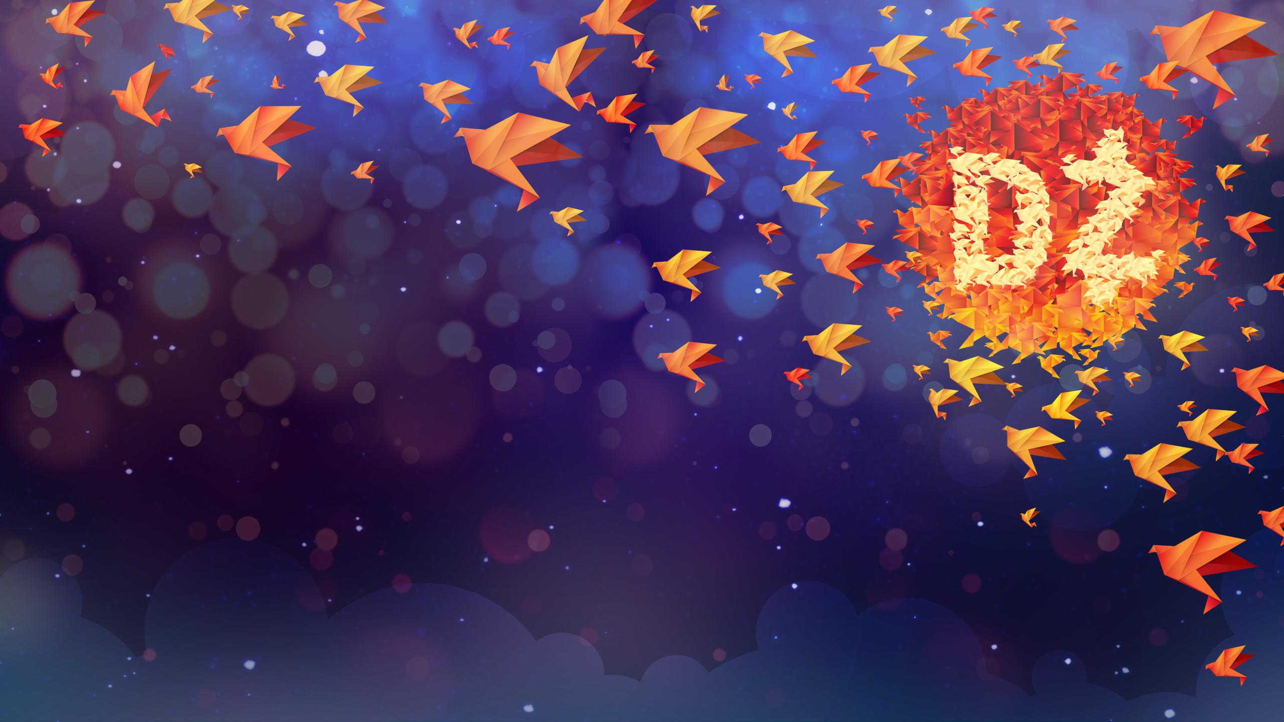 Оригами иллюстрация обои скачать