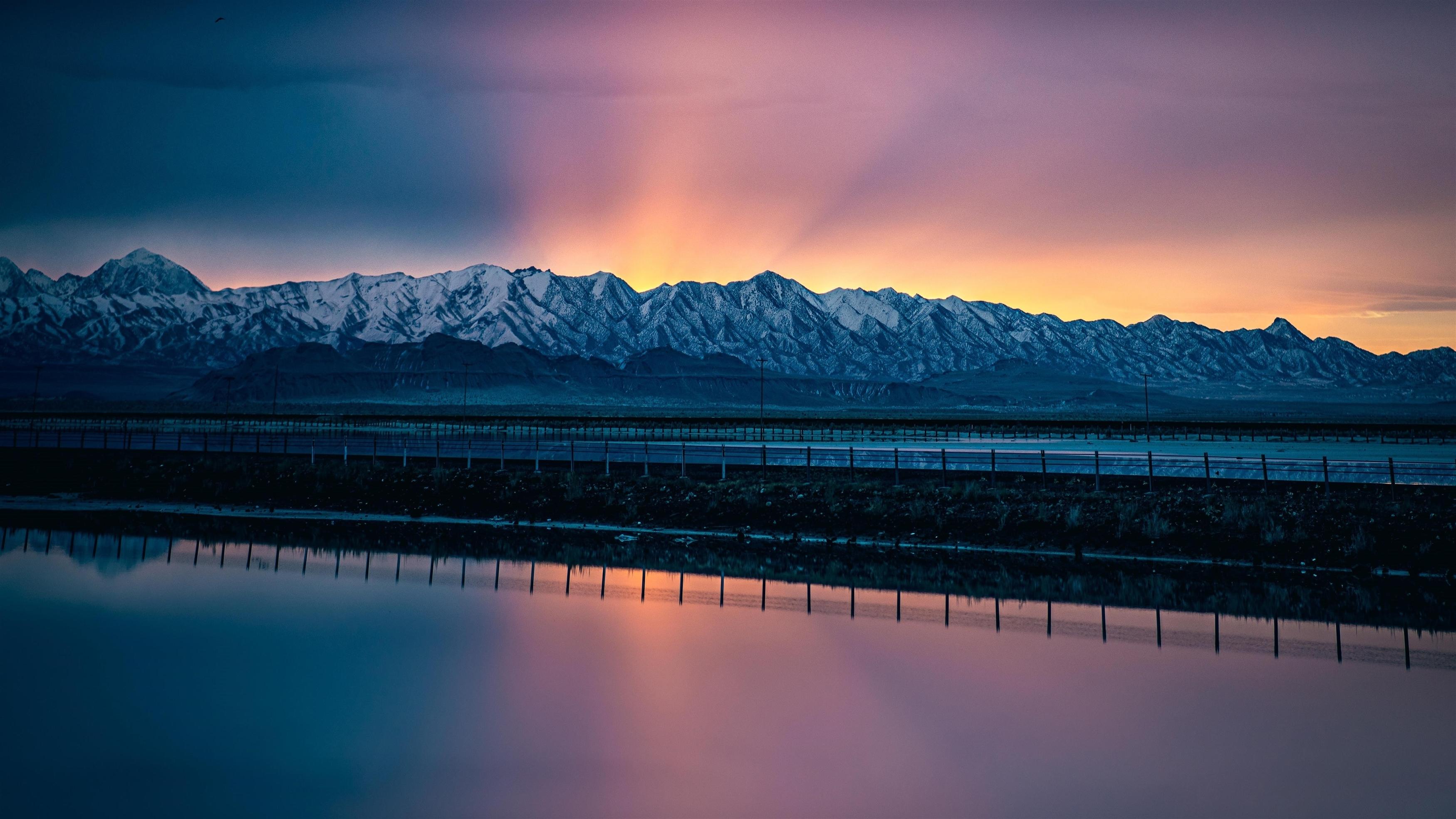 Sunset mountains lake обои скачать