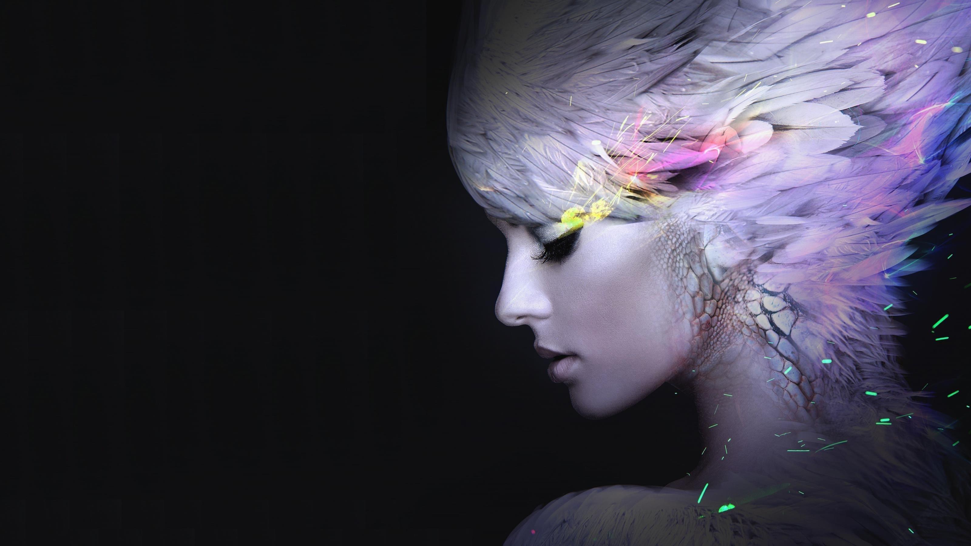 Девочка из перьев обои скачать