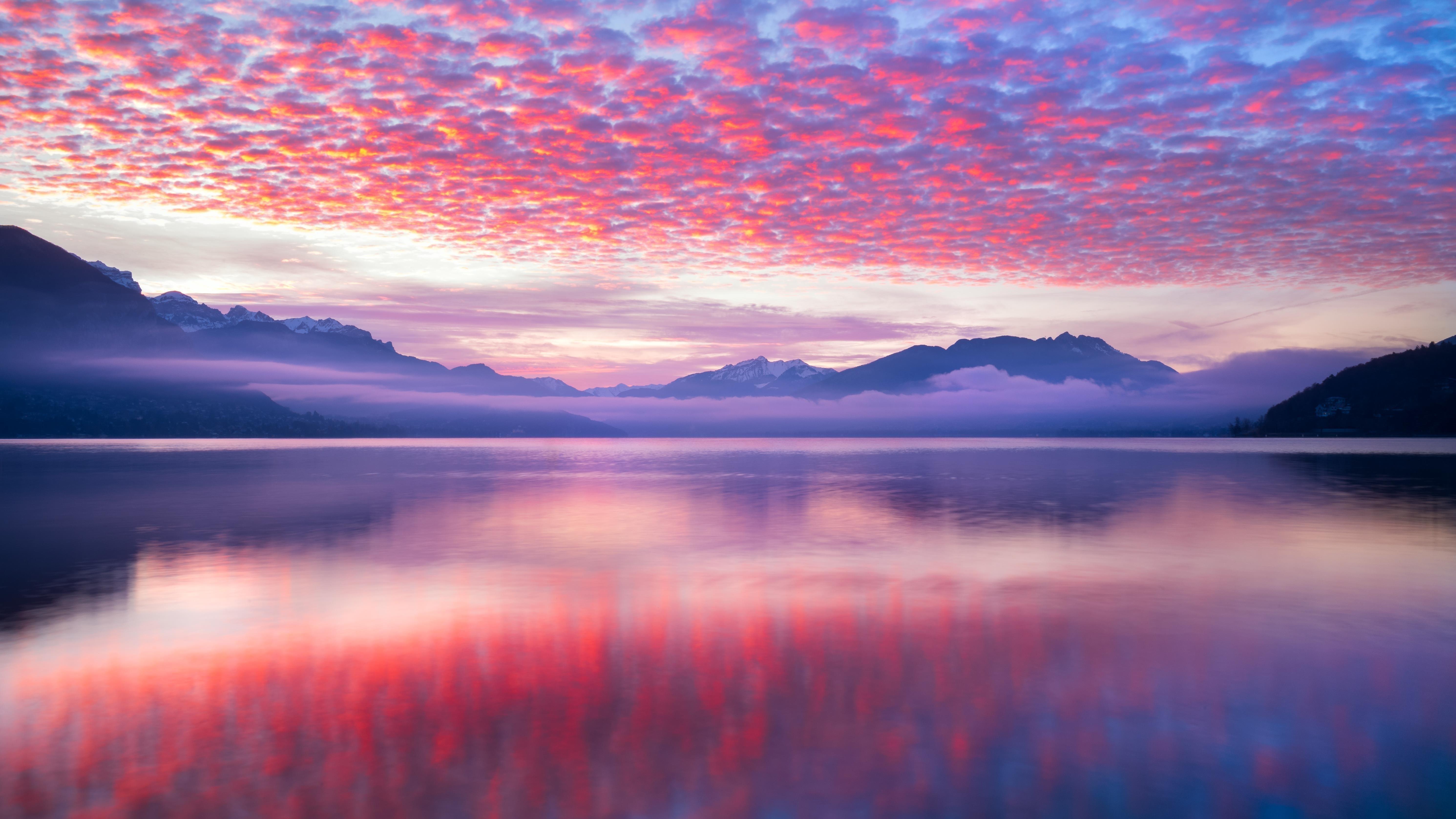Розовые облака пейзаж обои скачать
