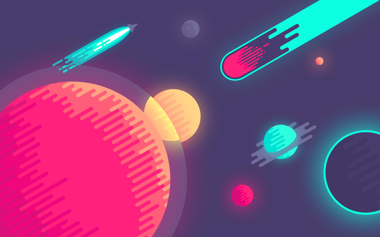 Планеты в пространстве минимум обои скачать