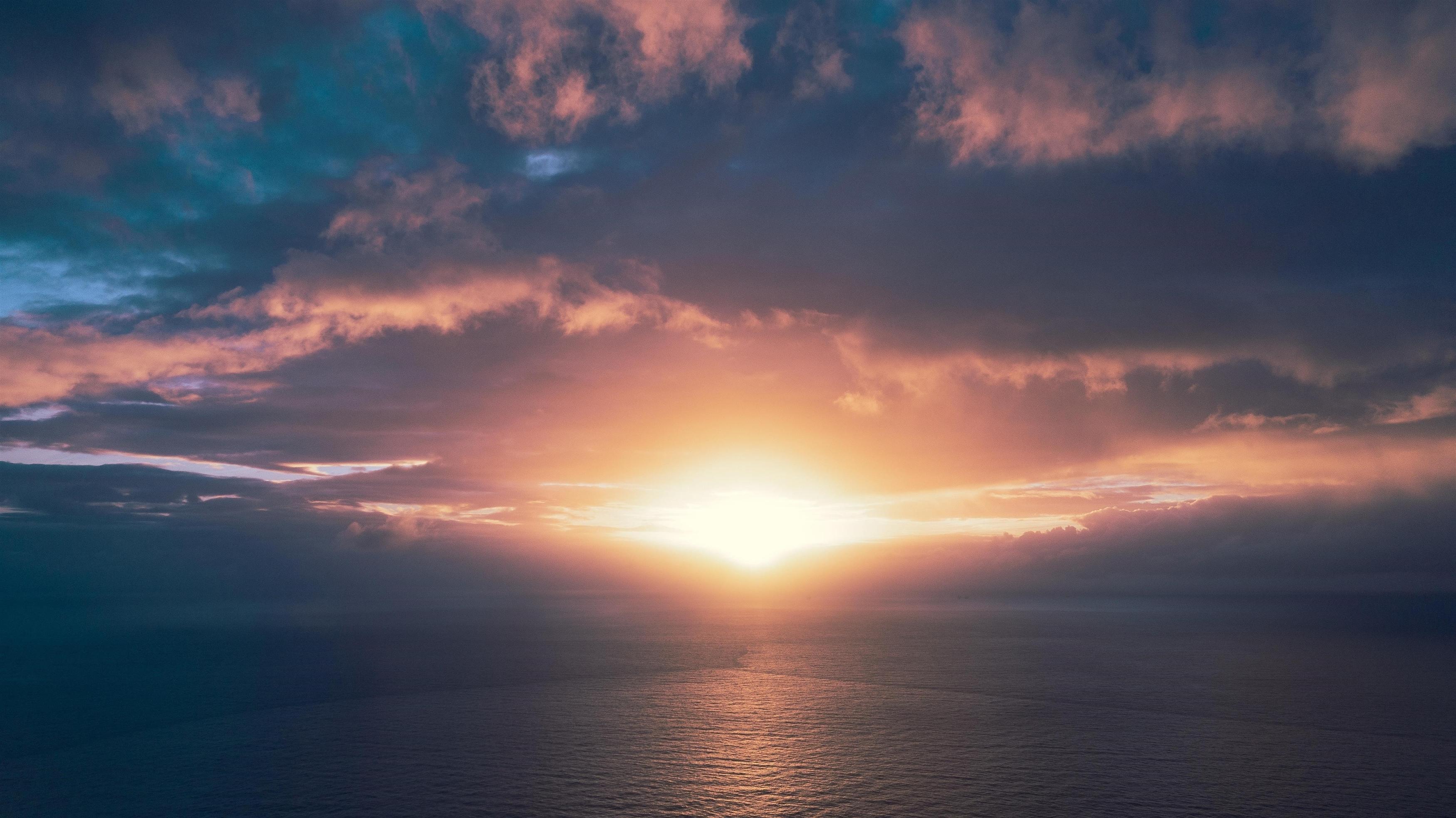 Закат горизонт морской пейзаж обои скачать