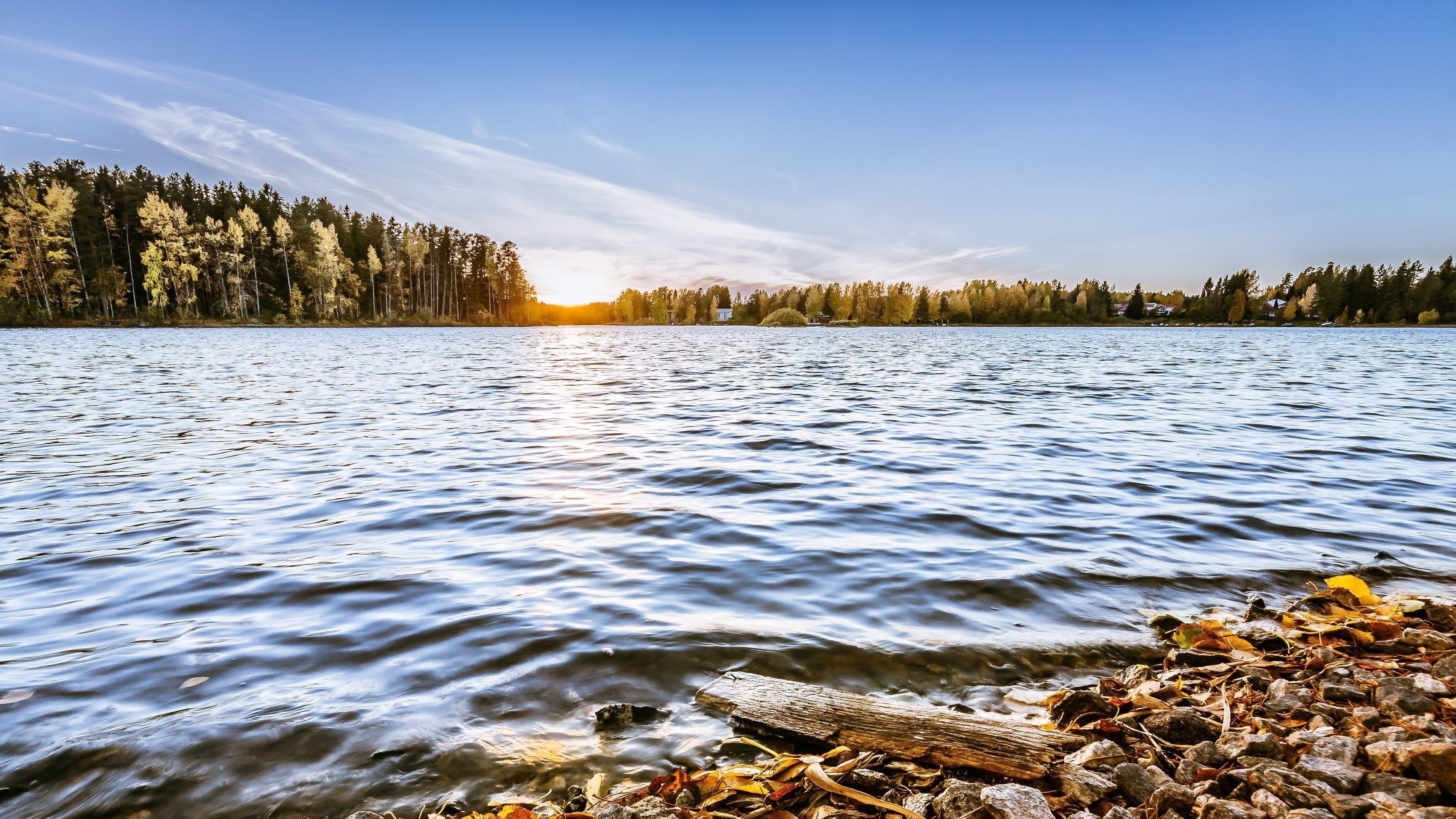 Озеро камни деревья солнце горизонт обои скачать