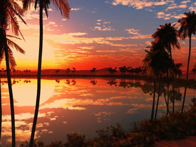 Красивое озеро, закат.