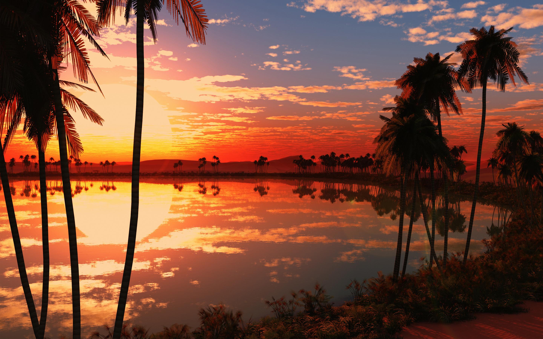 Красивое озеро, закат. обои скачать
