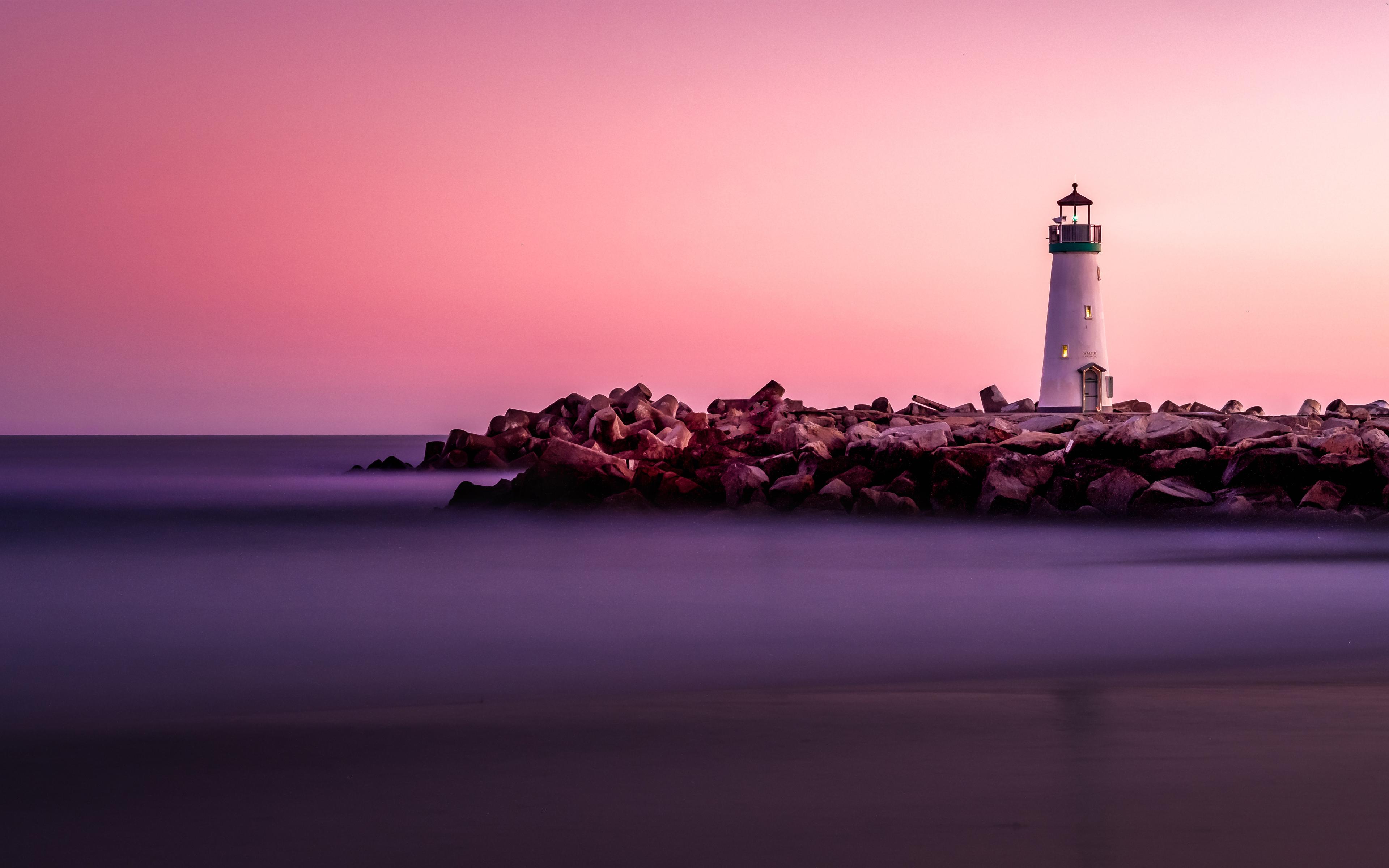 Закат маяка обои скачать