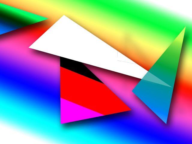 Белый треугольник розовый зеленый желтый абстрактный