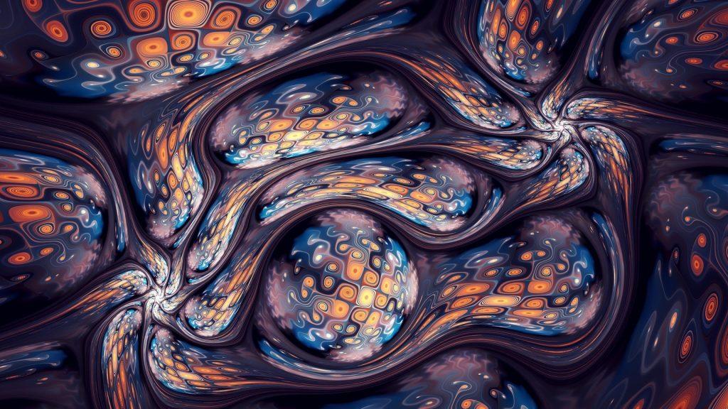 Синие оранжевые фрактальные волны сферические формы абстрактные обои скачать