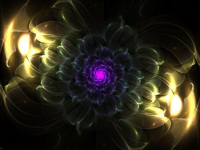 Желтый фиолетовый цветок фрактальный блик абстракция абстракция
