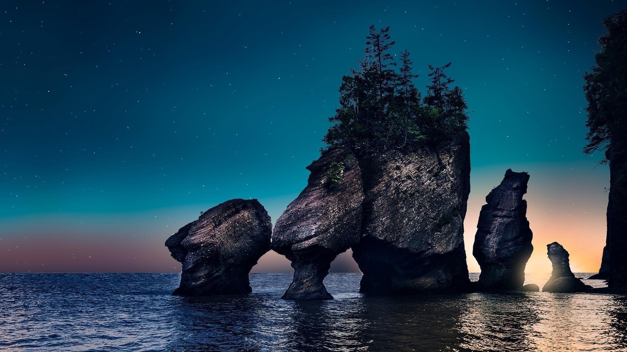 Прибрежные скалы восхода солнца обои скачать