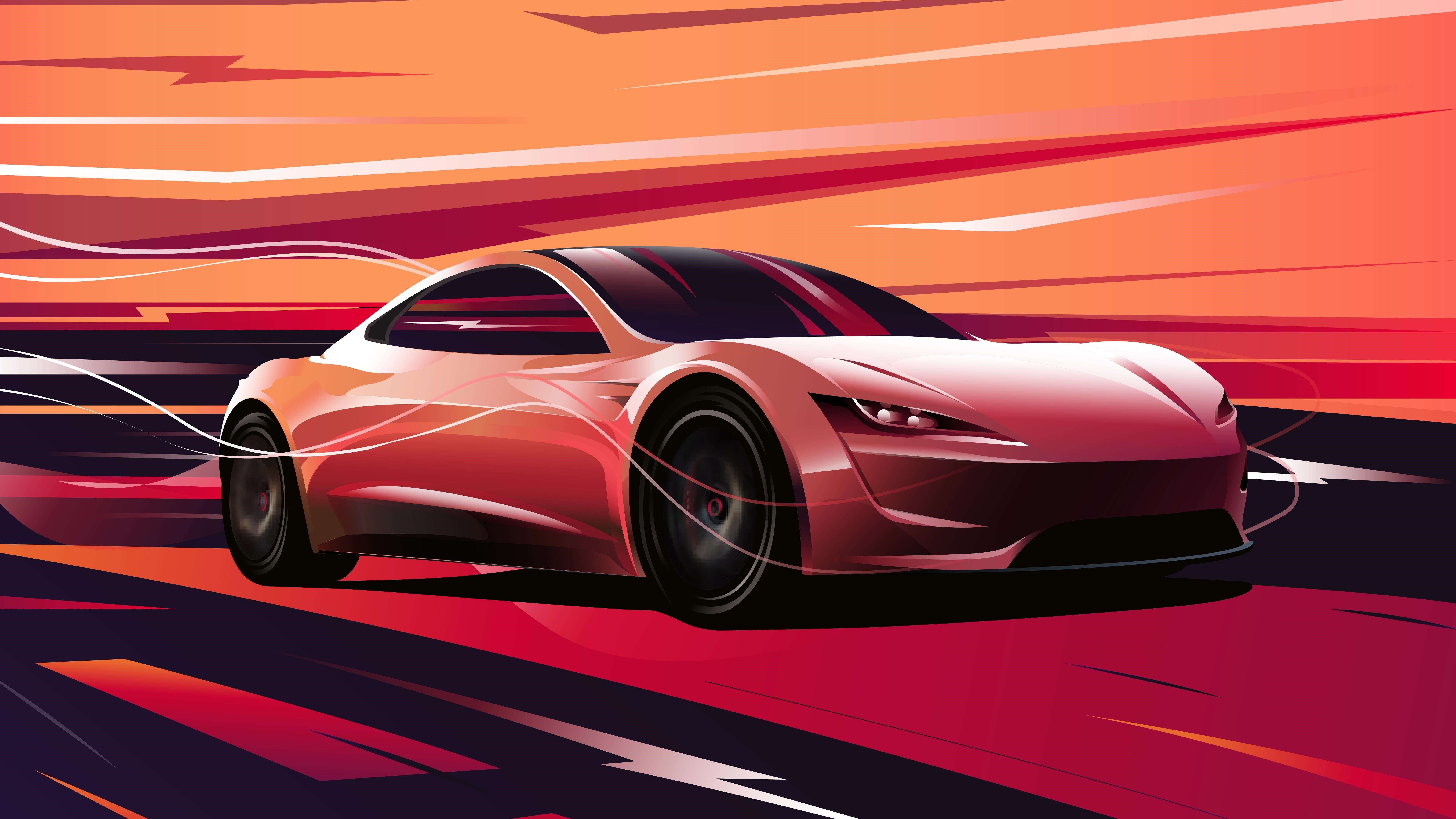 Tesla roadster обои скачать