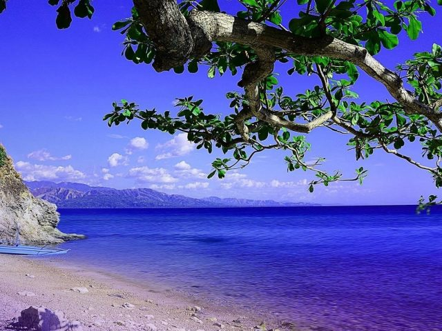 Красивый голубой океан и пейзаж горной природы