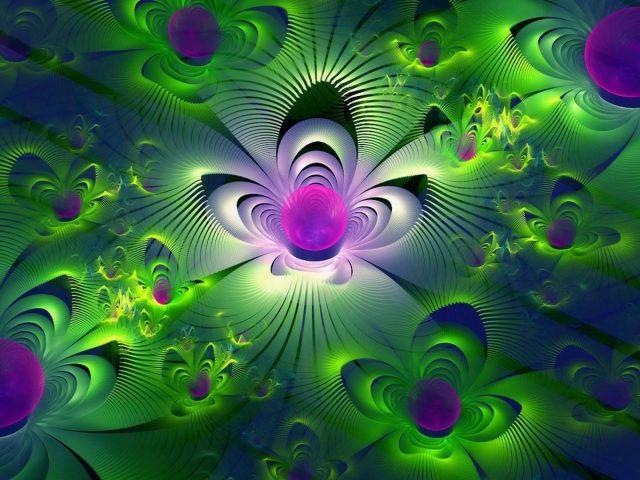 Фиолетово-зеленые блики цветов фрактальная абстракция абстракция