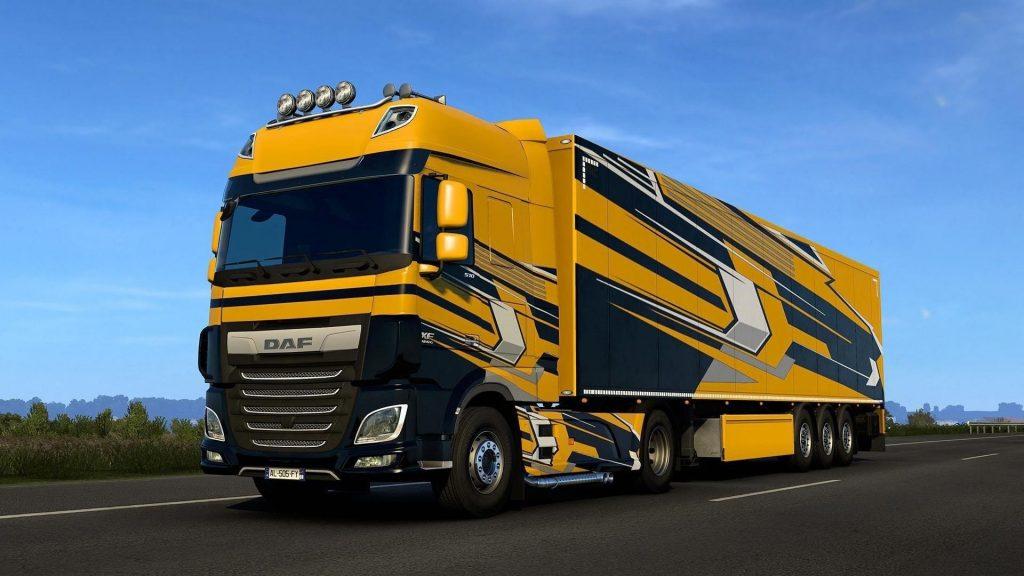 Желтые грузовые автомобили daf обои скачать