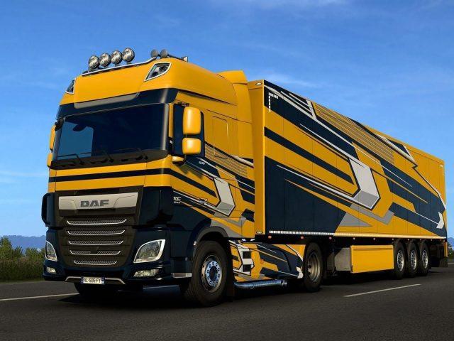 Желтые грузовые автомобили daf