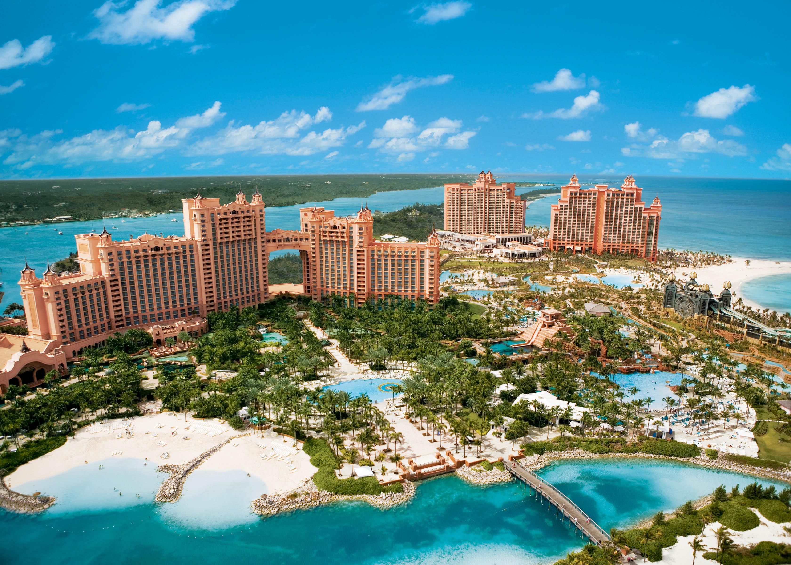 Bahamas, Atlantis, море, отель обои скачать