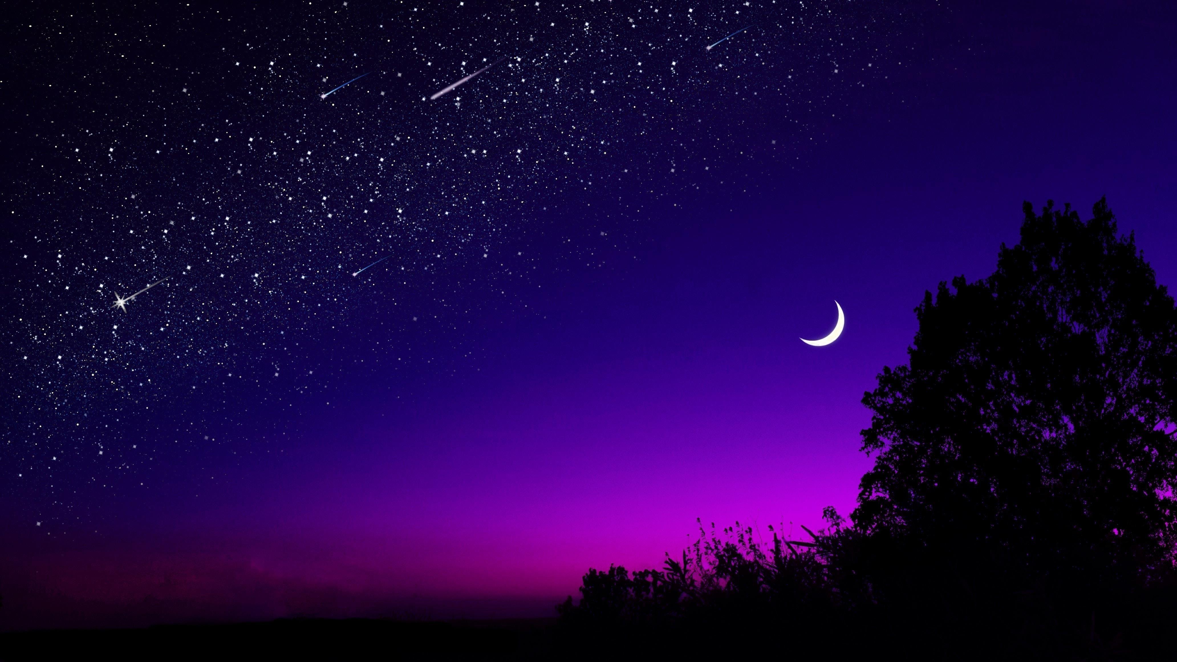 Blue starry sky half moon scene обои скачать