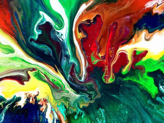 Красочная смешанная краска художественная абстракция абстракция