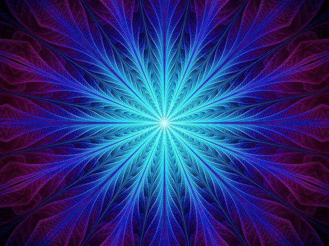 Фрактал абстрактный синий перо