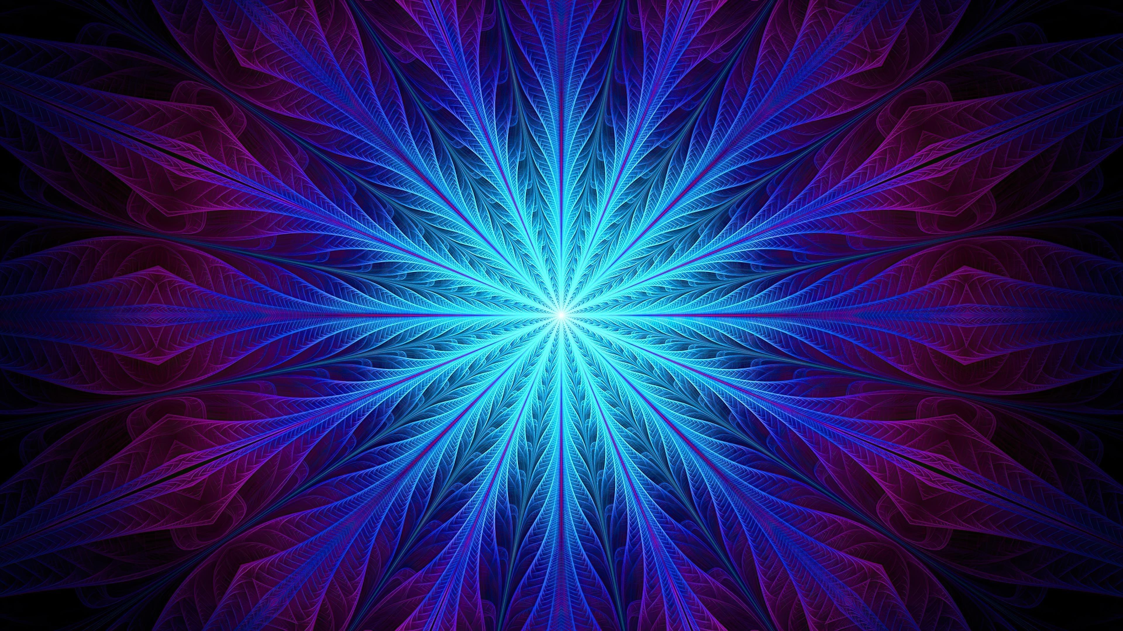 Фрактал абстрактный синий перо обои скачать