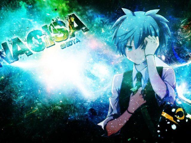 Синие волосы Нагиса шиота на синем фоне классной комнаты убийства