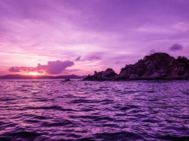 «остров пеликанов» фиолетовый пейзаж