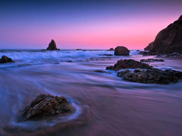 Земля океан рок закат длительная экспозиция