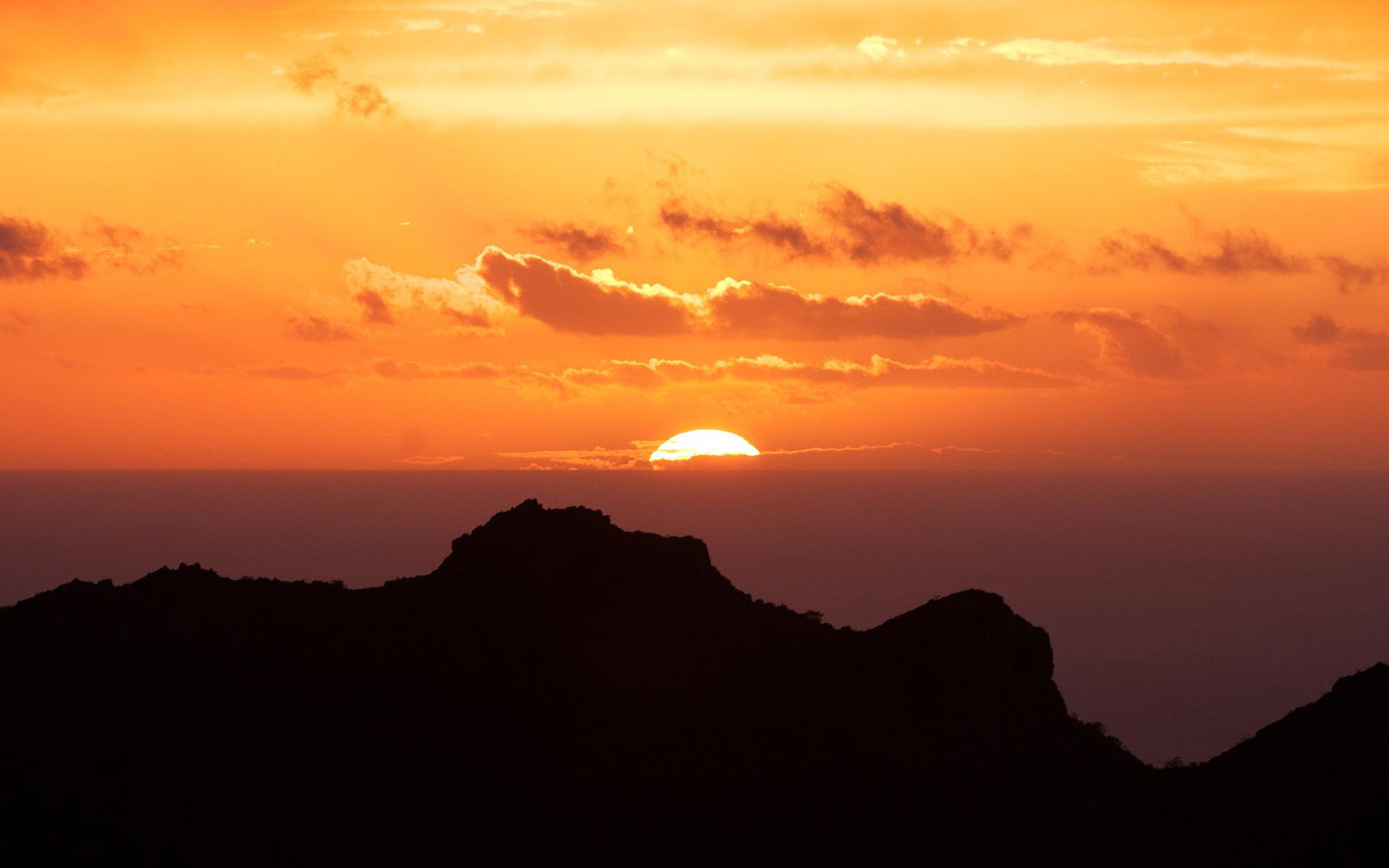 Канарские острова закат. обои скачать
