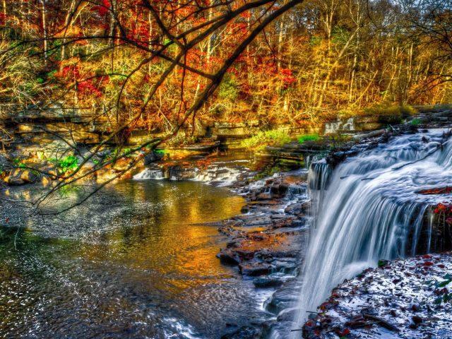 Красивый водопад в лесу льется на речную природу