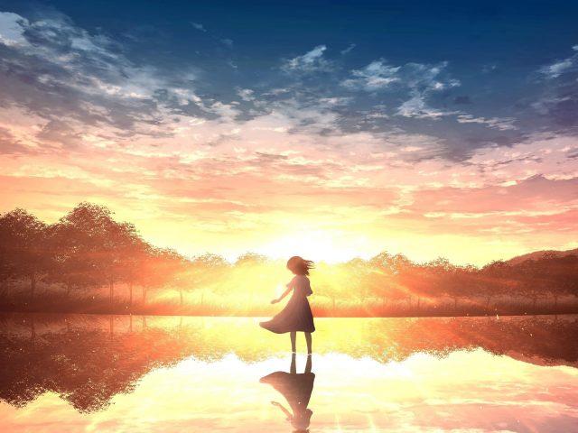 Одинокая девушка аниме