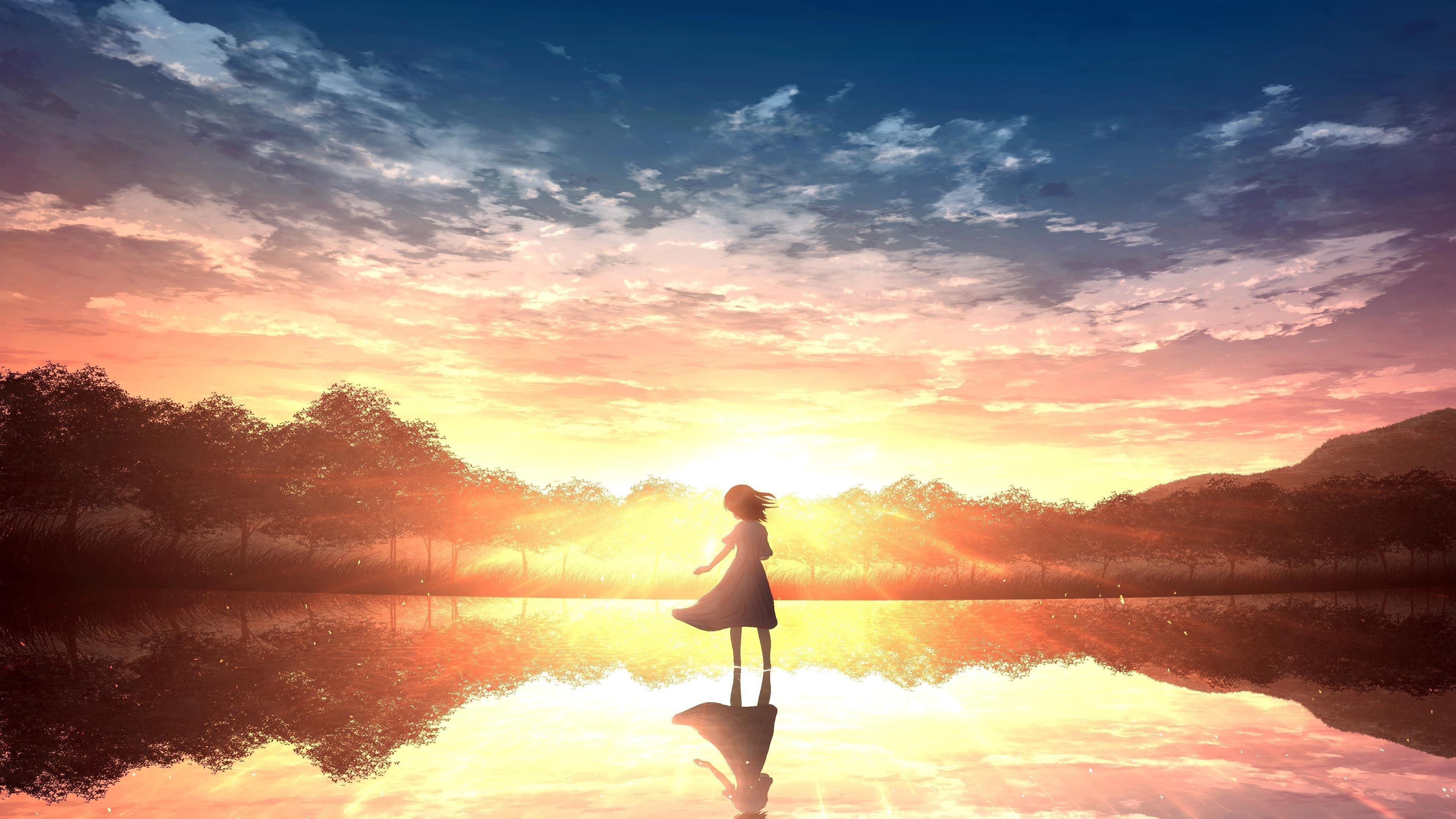 Одинокая девушка аниме обои скачать